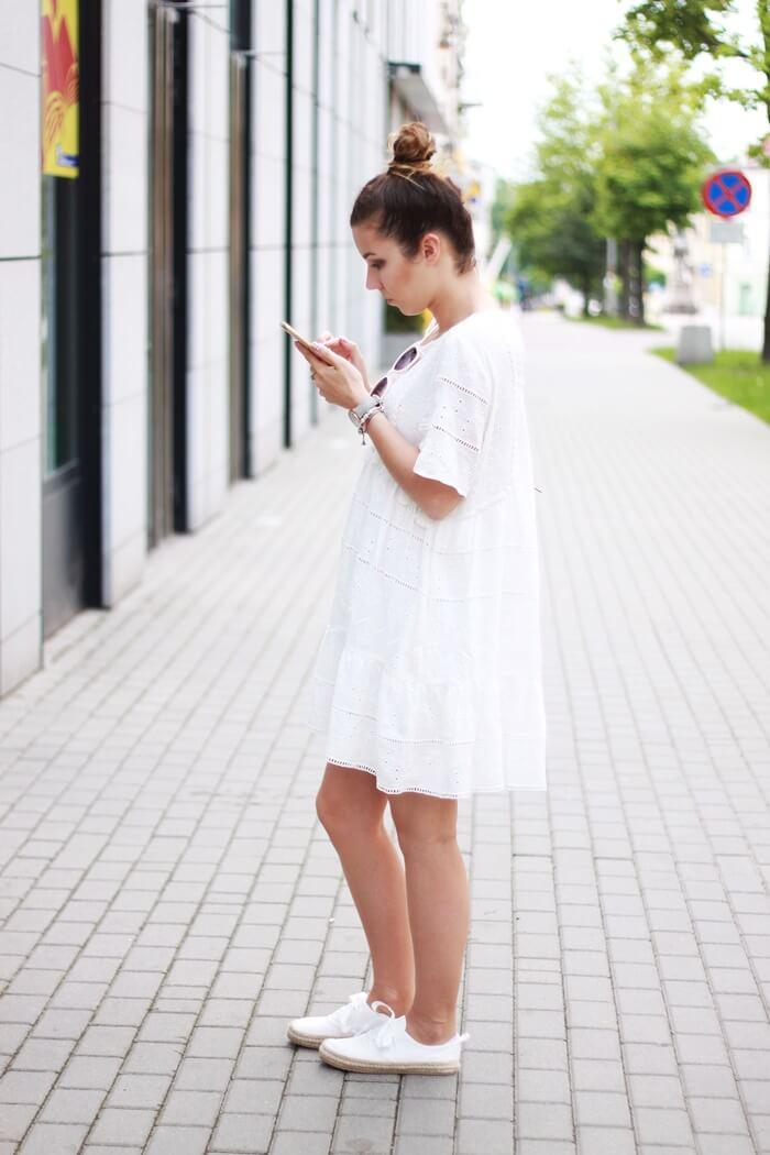 biała letnia sukienka zara outfit