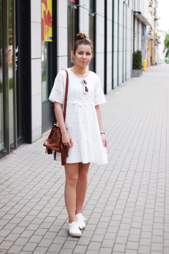 biała sukienka boho haft zara outfit
