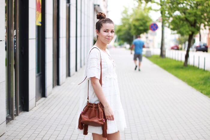 biała letnia sukienka zara boho outfit