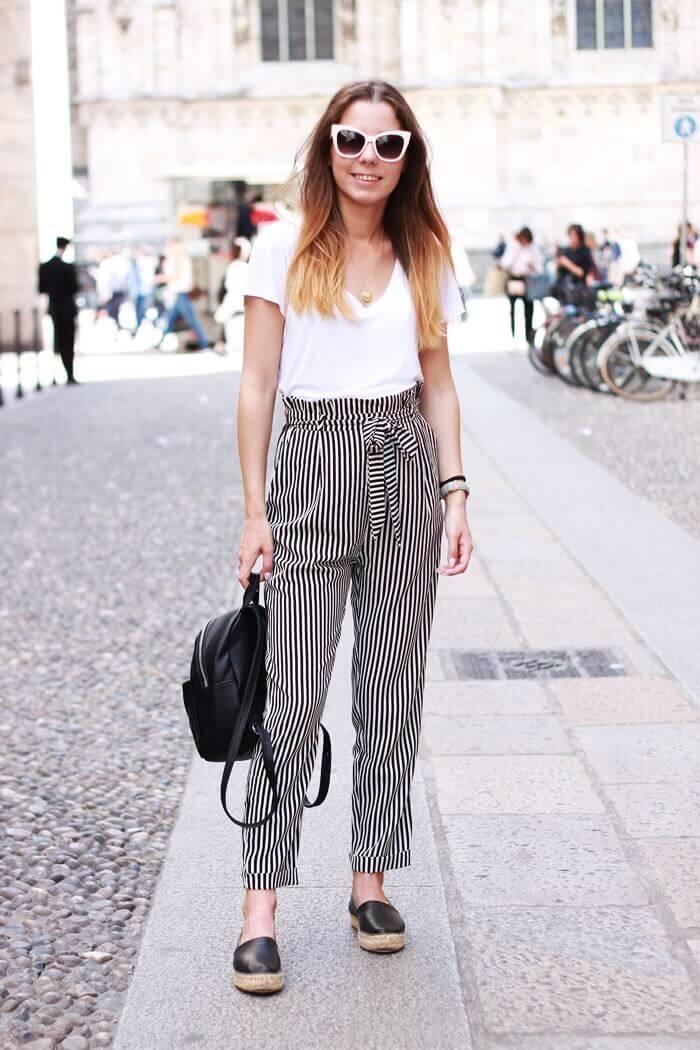 spodnie w paski stylziacja