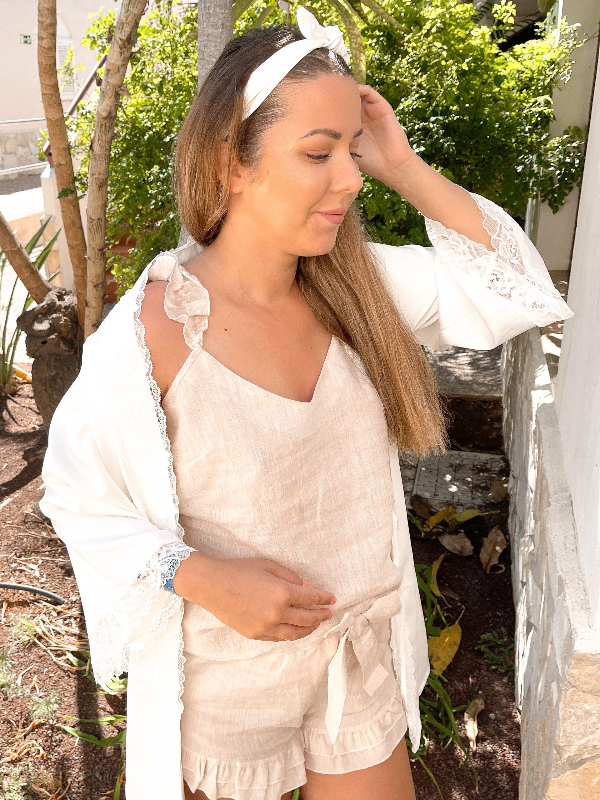 beżowa piżama z lnu